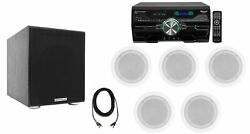 Dv4000 4000w Home Theater Dvd Receiver+5 5.25 White Ceiling Speakers+subwoofer