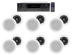 6000w 6 Zone, Home Theater Bluetooth Receiver+12 5.25 White Ceiling Speakers