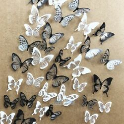 54pcs PVC 3D Crystal Butterfly Wall Stickers Art Decal DIY Home Bedroom Decorate