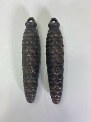 Set Of 2 Vintage Cuckoo Clock Pine Cone Weights 375et 12.6 Ox 5-1/4 Long