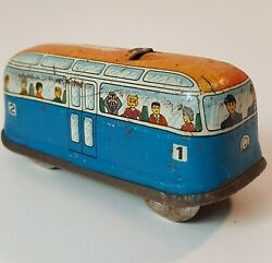 Small Vintage Tin Trolley Car Bus Metal Wind Up Toy No Key - Untested