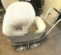 Vintage Antique Wicker Baby Pram Carriage Stroller Buggy Rare Full Size