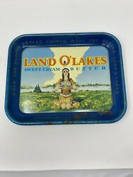 Vintage 50s Land O Lakes Sweet Cream Butter Metal Serving Tray Discontinued Logo