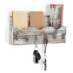 Wall Mount Mail Holder Organizer Mail Sorter Entryway Organizer With 6 Key Hooks