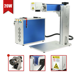 20w Engraver Marking Machine Fiber Laser Engraving Machine And Rotary Axis