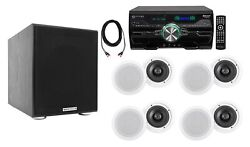 4000w Bluetooth Home Theater Dvd Receiver+8 6.5 White Ceiling Speakers+sub