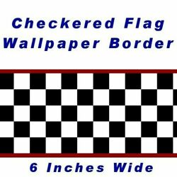 6quot; Checkered Wallpaper Border Cars Racing Red Edge