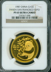 1987 Gold Panda San Francisco Coin Expo Ngc Pr65 Pf65 China Pf-65 Cameo