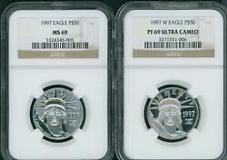 1997-p And 1997-w 50 Platinum Eagle Ngc Ms69 And Pf69 Pr69 First Year 2-coins Set