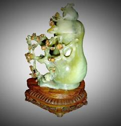 Antique Chinese Fine Carved Green Jade Covered Bottle Vase Tree With Wood Stand.