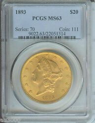 1893 1893-p 20 Liberty Double Eagle Pcgs Ms63 Gold Ms-63 Scarce Older Holder