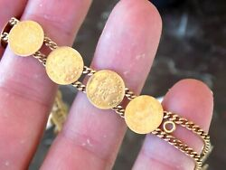10 Kt Gold Bracelet With Replica California Fraction Coins Tested All 10 Kt