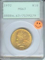 1932 10 Indian Eagle Pcgs Ms63 First Generation Rattler Holder Premium Quality
