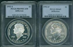 1993-p And 1993-s Thomas Jefferson Silver Dollar Pcgs Ms69 And Pr69 Pf69 2-coins