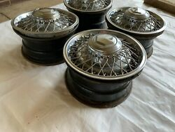 1979-1989 15x7 Wheels Locks And Wire Spoke Hubcap Covers Full Size Rear Wheel