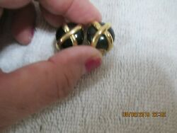 NORDSTROM earrings CLIP ON black stone gold X marked NORDSTROM and a N $10.00