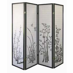 Black And White Japanese Shoji Screen Asian Floral 4-panel Privacy Room Divider