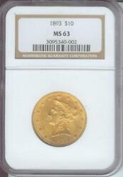 1893 1893-p 10 Liberty Eagle Ngc Ms63 Gold Coin Ms-63 Older Holder
