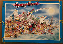 Original Vintage Poster Spring Break 1980's College Dorm Frat House Head Shop