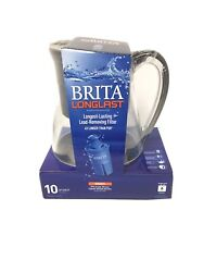 Brita Monterey BPA Free Water Filter Pitcher With Longlast Filter 10 Cups ☆ New