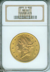1895-s 20 Liberty Double Eagle Ngc Ms-62 Gold Ms62 Better Date Older Holder