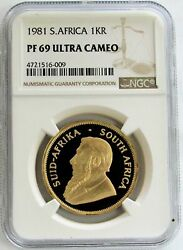 1981 Gold South Africa 1oz Proof Krugerrand Ngc Pf 69 Ultra Cameo