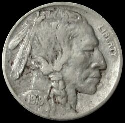 1919 D United States Buffalo Nickel 5 Cent Coin Very Fine