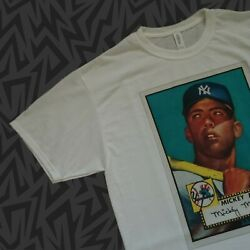 New MICKEY MANTLE T-Shirt 1952 Topps ROOKIE Baseball Card Pick YANKEES  S - 2XL $24.00