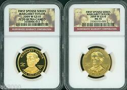 2009-w 10 Gold Spouse Margaret Taylor Ngc Pr70 Pf70 And Ms70 2-coins Set