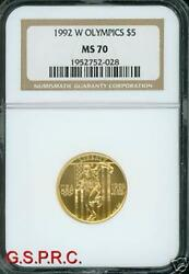 1992-w 5 Ngc Ms-70 Olympics Runner Gold Coin Ms70