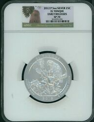 2012-p El Yunque America Beautiful Atb 5 Oz. Silver Ngc Sp70 Early Releases Er
