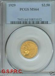 1929 2.5 Indian Quarter Eagle Gold Coin Pcgs Graded Ms64 Ms-64