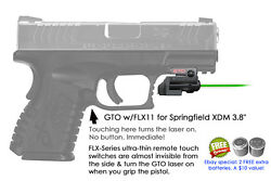 Armalaser Gto For Springfield Xdm 3.8 Green Laser Sight W/ Flx11 Grip On/off
