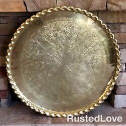 36 Xl Moroccan Solid Brass Etched Tray / Table Top / Vintage Scalloped Rim Old