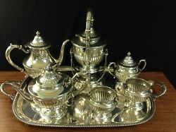 8 Pieces Sterling Silver Tea Set And Sterling Tray Markings Of Sterling