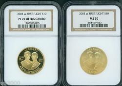 2003-w 10 Gold First Flight Wright Brothers Ngc Pr70 Pf70 And Ms70 2-coins Set