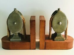 Bookends Brass Block And Tackle Pulleys With Ropes Mounted On Wood A Pair