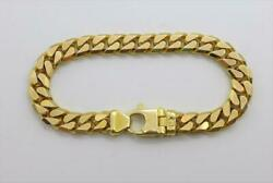 14kt Italy Yellow Gold Solid Cuban Link Bracelet 9mm Wide 8.5 Long