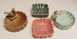 4 Vintage 1950's Wade Ring Pin Trinket Trays Dishes Whimtray Squirrel Shell