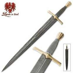 29 Legends In Steel Damascus Excalibur Medieval Knight Sword Knife + Scabbard