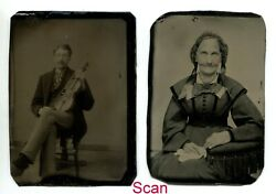 Set Of Two Antique Tintype Tin Type Photos Old Woman And Man With Violin