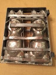 Vintage Antique Chocolate Candy Metal Tin Hinged Easter Spring Bunny Rabbit Mold