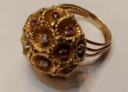 15.2 Grams 18kt Yellow Gold Cocktail Ring With Diamonds And Rubys Sz 9 1/2