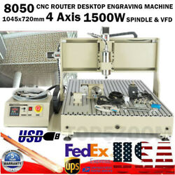Usb 4axis 1.5kw Cnc 8050 Metal Router Engraver Machine Wood Milling W/ Vfd Motor