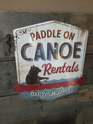 Canoe Rentals Paddle On Daily Metal Display Sign Vintage Look Outdoors Cool Coo