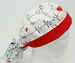 NEW Calling All Nurses Heart Monitor Ponytail Surgical Cap $16.00