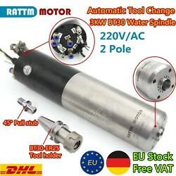 【eu】cnc Router Mill 3kw 220v Atc Water Cooled Spindle Motor 24000rpm Bt30 Holder