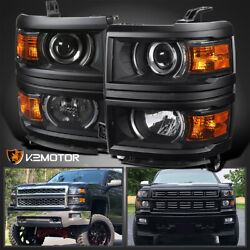 Black For 2014 2015 Chevy Silverado 1500 Projector Headlights LeftRight Lamps $168.38