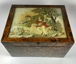 Antique French Needlepoint And Burled Wood Sewing Or Work Box Cigar Box C1830-50