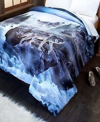 Wolf Pack Full Queen Comforter Nature Black Gray White And Blue Bedroom Decor 1-pc